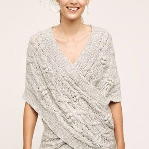 NEW Anthropologie Sleeping on Snow cabled wrap pul